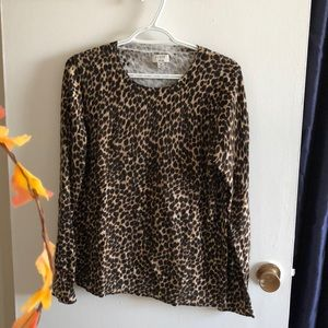 J. Crew Merino Wool Cheetah Print Teddie Sweater